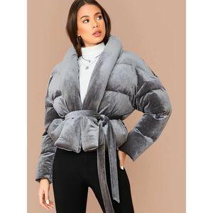 NWT Shein Shawl Collar Velvet Puffer Wrap Jacket